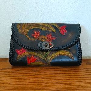 Vintage Leather Clutch with Flower Detail